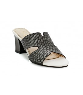 Ladies sandals 6804-1 WHITE-PEWTER