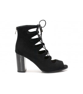 Ladies sandals F1880-L240 BLACK-Suede